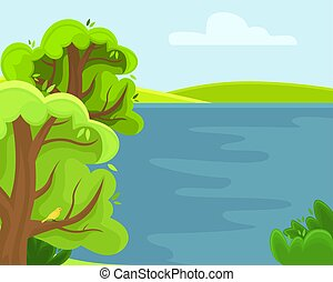 Spring rural landscape with a lake. Sunny summer day.