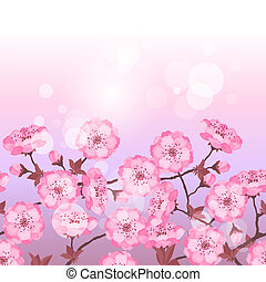 Spring sakura flowers seamless pattern horizontal border.