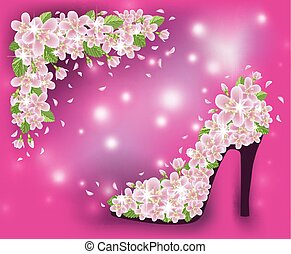 Spring sakura shoes postcard, vector illustration