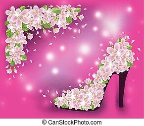 Spring sakura shoes postcard, vector illustration