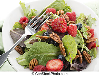 Spring Salad With Berries And Peanuts, Close Up