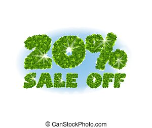 Spring sale 20 percent off. Letters and figures from maple...