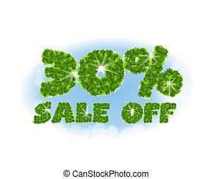 Spring sale 30 percent off. Letters and figures from maple...