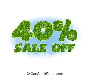 Spring sale 40 percent off. Letters and figures from maple...