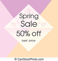 Spring Sale 50% Off Best Price Square Background Vector Image