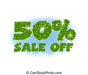 Spring sale 50 percent off. Letters and figures from maple...