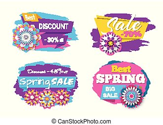 Spring sale and promotion vector, banners with stripes and flowers decoration, offers and discounts of shops and stores, retailing and shopping set
