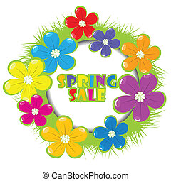 Spring sale advertising with grass and flowers