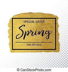 Spring sale background on gold sparkle background.