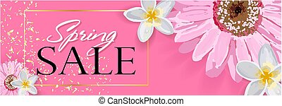 Spring sale background with a beautiful colorful flower..