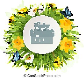 Spring Sale Background With A Green Grass and flowers. Vector