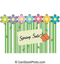 Spring sale background with bar code