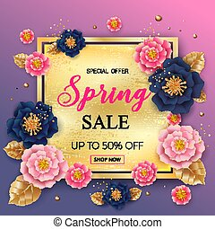 Spring sale background with beautiful colorful flower. Can be us