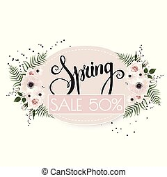 Spring sale background with beautiful flowers