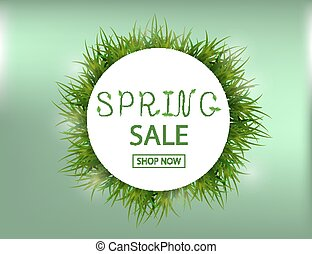 Spring Sale Background with green grass for your design. Vector