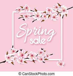 Spring sale background with pink blooming sakura. Vector