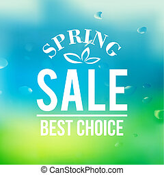 Spring sale background with text.  Vector illustration.