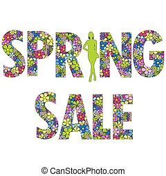 Spring sale background with woman silhouette
