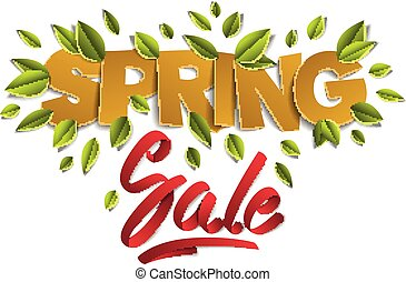 Spring sale banner advertising design layout, papercut and ribbon words with fresh green leaves vector modern style cartoon paper cut 3d illustration.