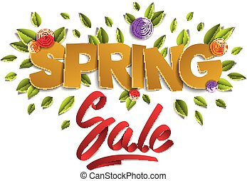 Spring sale banner advertising, papercut and ribbon words with flowers and leaves vector modern style cartoon paper cut 3d illustration.