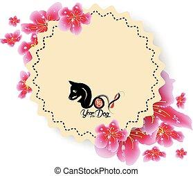 Spring sale banner design with sakura blossom. Chinese new year 2018 (hieroglyph Dog)