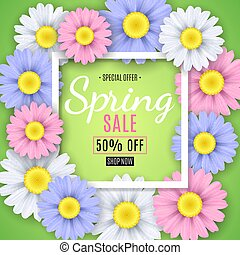 Spring sale banner. Square white frame. Multicolored flowers of chamomile on a green background. Seasonal flyer. Special offer. Vector illustration