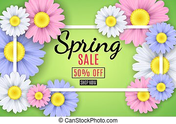 Spring sale banner. Square white frame. Multicolored flowers of chamomile on a light green background. Seasonal flyer. Special offer. Vector illustration