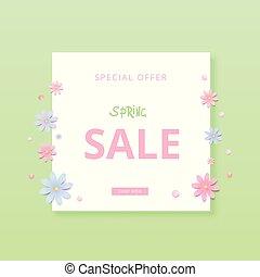 Spring Sale banner. Template for advertising. Vector illustration.