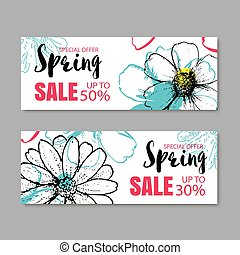 Spring sale banner template with colorful flower. Can be use...