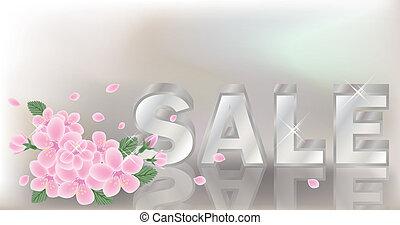 Spring sale banner. vector