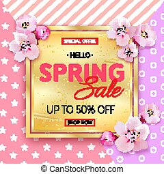 Spring sale banner with Cherry Blossoms on pink background.