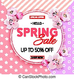 Spring sale banner with Cherry Blossoms on pink background. Vect