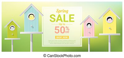 Spring sale banner with little birds in colorful birdhouses 1
