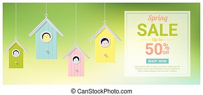 Spring sale banner with little birds in colorful birdhouses 2