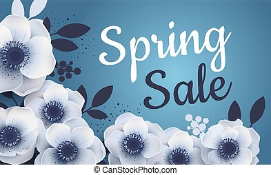 Spring sale banner with paper flowers anemones.