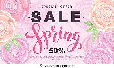 Spring sale banner with rose flowers on black background. Vector illustration