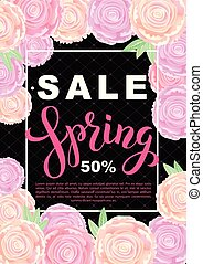 Spring sale banner with rose flowers on black background. Vector vertical illustration