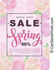 Spring sale banner with rose flowers on rose background. Vector vertical illustration