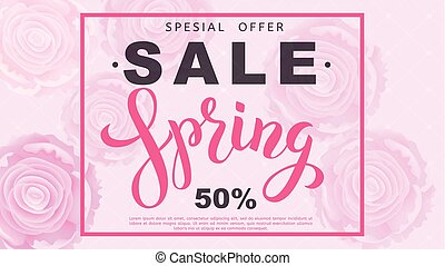 Spring sale banner with rose flowers. Vector illustration