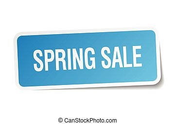 spring sale blue square sticker isolated on white