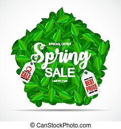Spring Sale Cute Background with Green Leaves. Vector Illustration