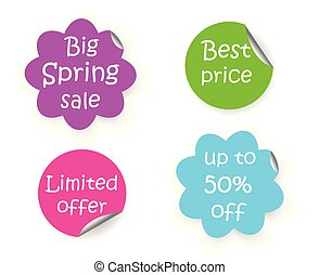 spring sale discount flower shape and circle sticker with curled corner, marketing promotion set of labels with text best price;limited offer and big spring sale, vector illustration