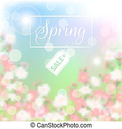 Spring sale floral background with blossoming branch