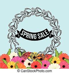 spring sale flowers crown leaves festive