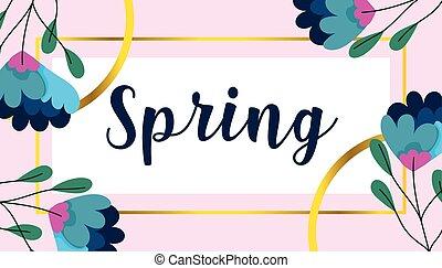 spring sale, flowers frame banner decoration season