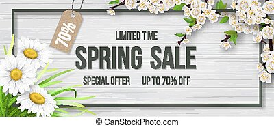 Spring sale frame chamomile wood blooming branch.