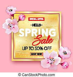 Spring sale gold banner with Cherry Blossoms on pink background.