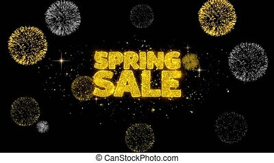 Spring Sale Golden Text Blinking Particles with Golden...