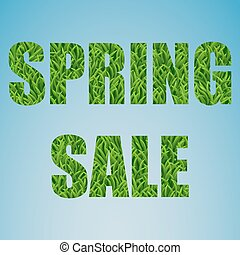 Spring sale. Grass text on a blue background