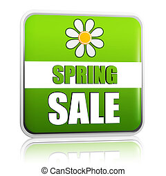 spring sale green label with flower